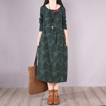 Women Retro O-Neck Casual Loose Floral Long Dress
