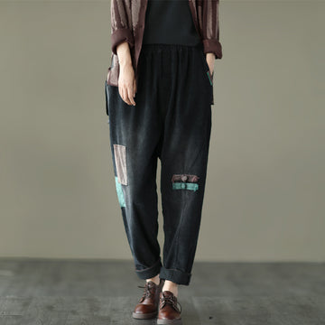 Women Retro Patchwork Corduroy Pants