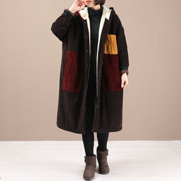 Women Retro Patchwork Lambswool Coat