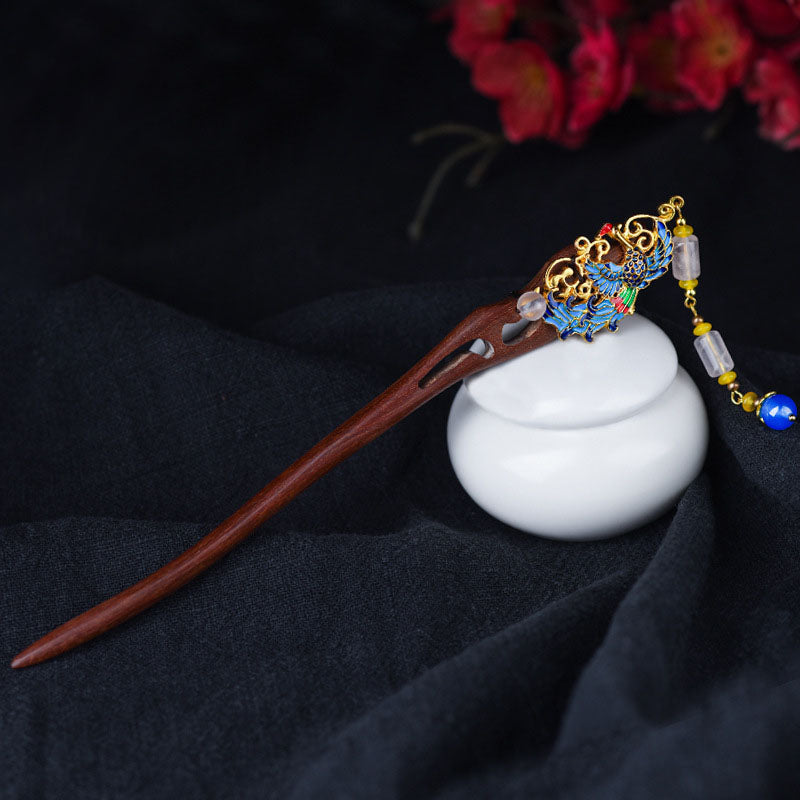 Women Retro Phoenix Dangle Wood Hairpin