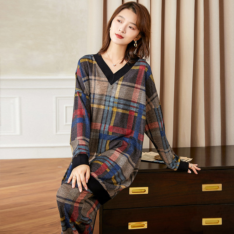 Women Retro Plaid Blouse And Pants