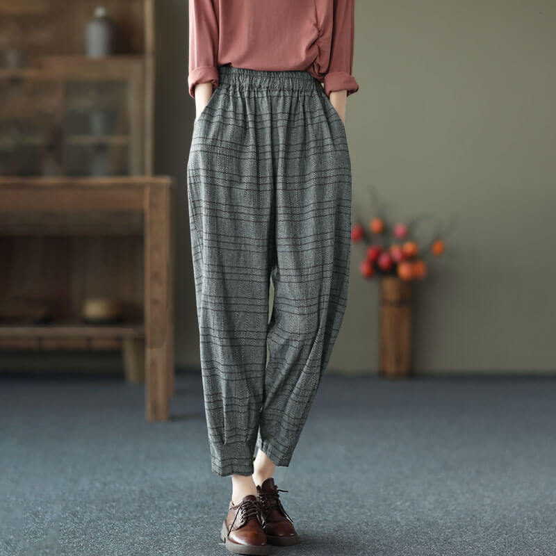 Women Retro Plaid Elastic Waist Pants