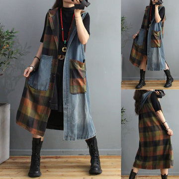 Women Retro Plaid Stitching Pocket Coat