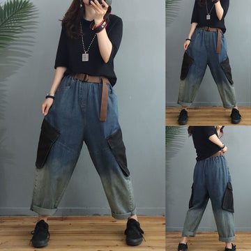 Women Retro Pocket  Casual Loose With Waist Belt jeans