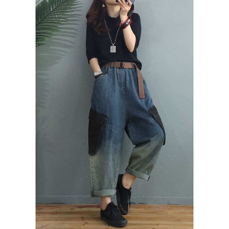 Women Denim Pocket  Casual Loose With Waist Belt Jeans