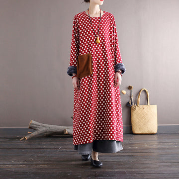 Women Retro Pocket Dot Plus Velvet Dress