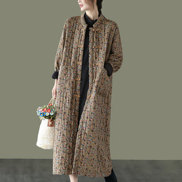 Women Retro Pocket Thick Long Cotton Coat