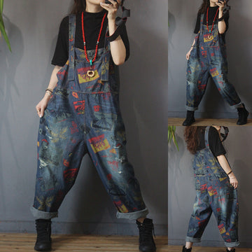 Women Retro Print Loose Denim Rompers