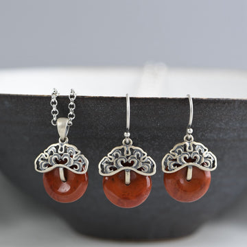 Women Retro Silver Agate Earrings Necklace