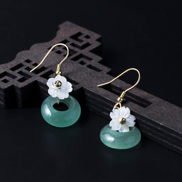 Women Retro Silver Floral Shell Simple Earrings