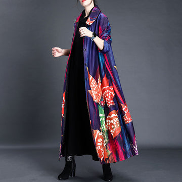 Women Retro Single Breasted Print Long Coat