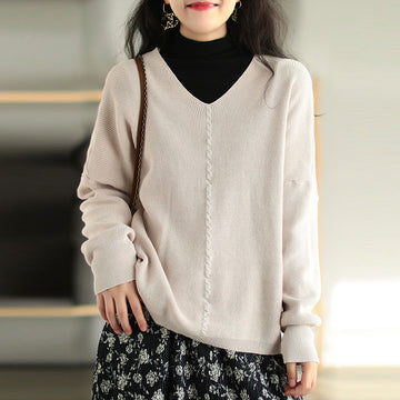 Women Retro Solid Color Knitted Sweater