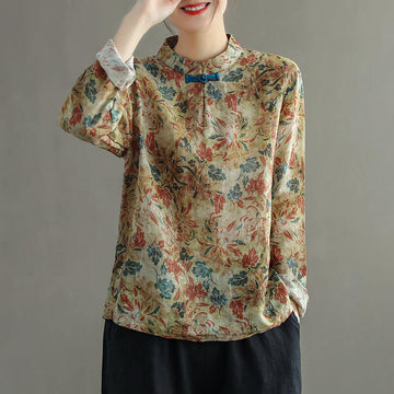 Women Retro Stand Collar Floral Casual Sweatshirt