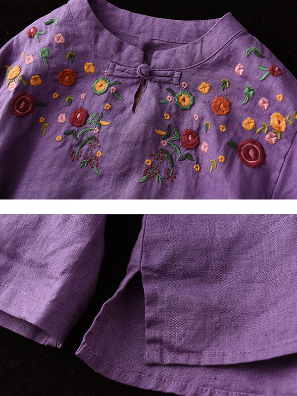 Women Retro Stand Collar Floral Casual Embroidered Shirt