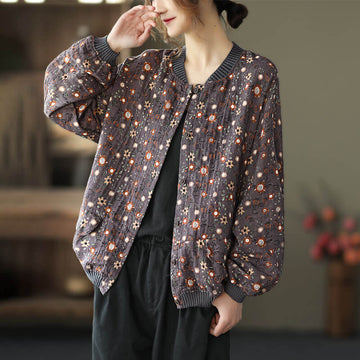 Retro Stand Collar Floral Cotton Coat