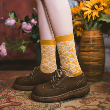 Women Retro Stitching Socks(5 Pairs)