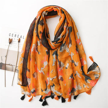Women Retro Tassel Simple Print Shawl Scarf