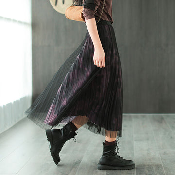 Women Retro Two Layer Stitching Loose Skirt