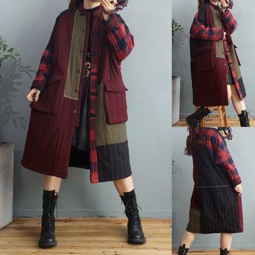 Women Retro Winter Stitching Retro Overcoat