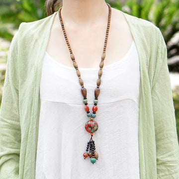 Women Retro Wooden Handmade Long Necklace