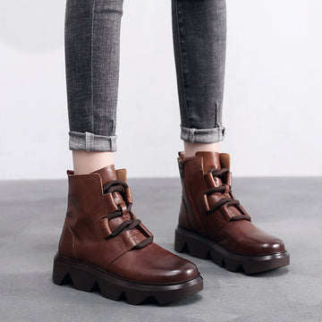 Women Retro Zipper Leather Short Boots