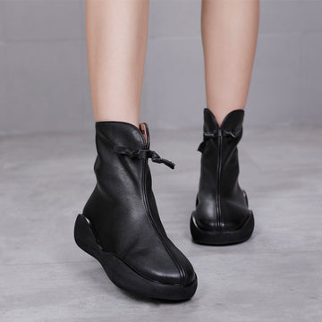 Women Round-toe Zipper Leather Boots