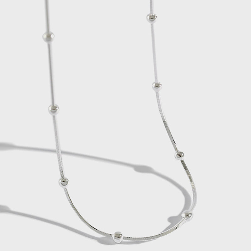 Women Simple Wild Beads Silver Necklace
