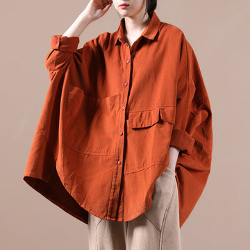Women Single Breasted Pocket Solid Color Blouse