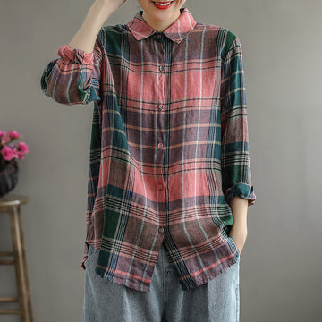 Women Single Breasted Retro Plaid Shirt