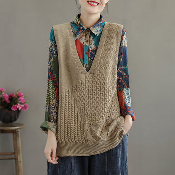 Women Sleeveless V-neck Knitted Blouse