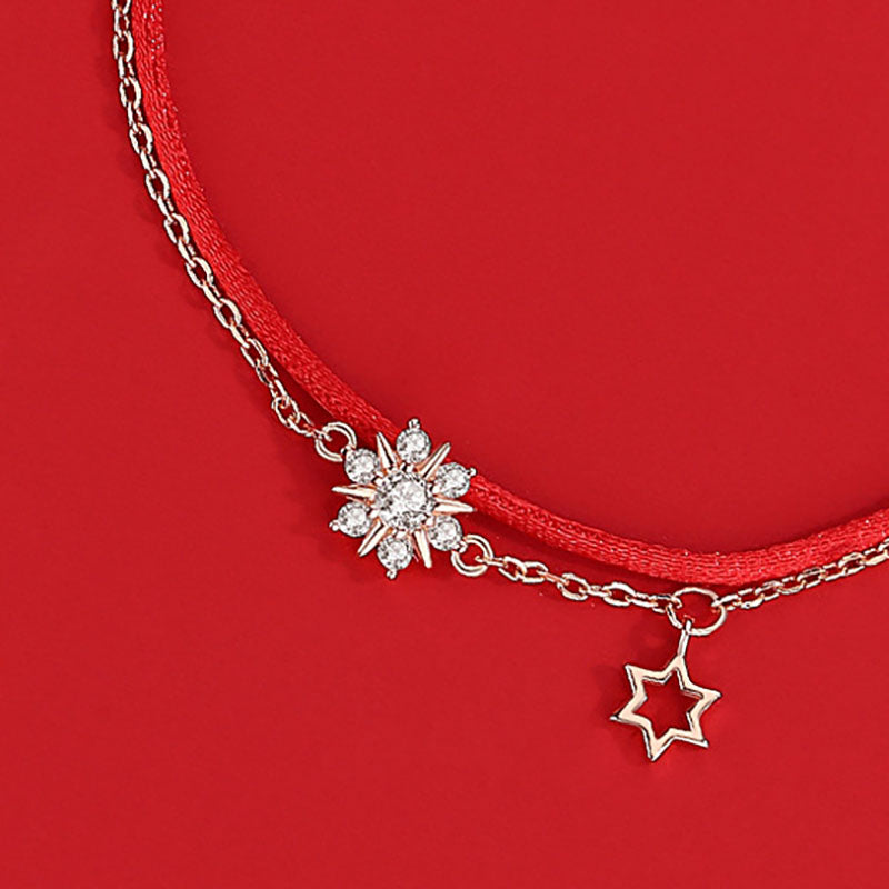 Women Snowflake Double Layer Bracelet