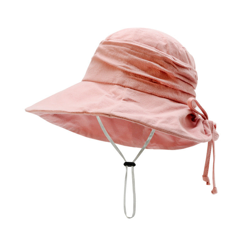 Women Solid Color Beach Drawstring Hats