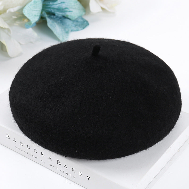 Women Solid Color Casual Wool Beret Hat