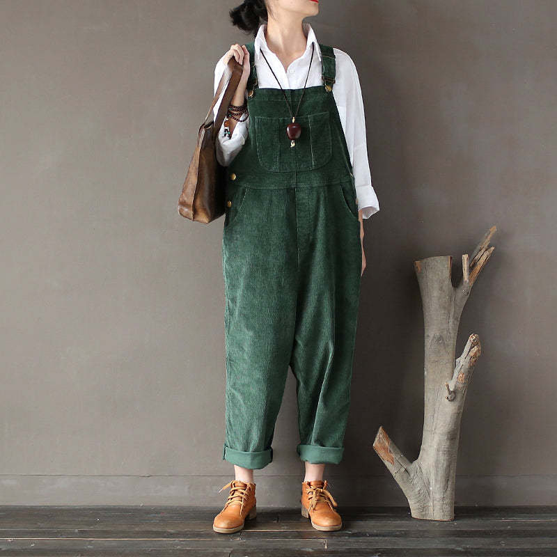 Plus Size - Women Solid Color Corduroy Jumpsuits