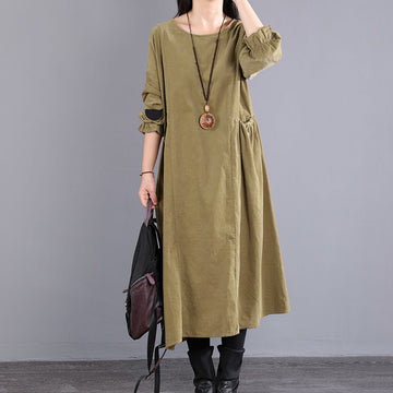 Women Solid Color Corduroy Pocket Dress