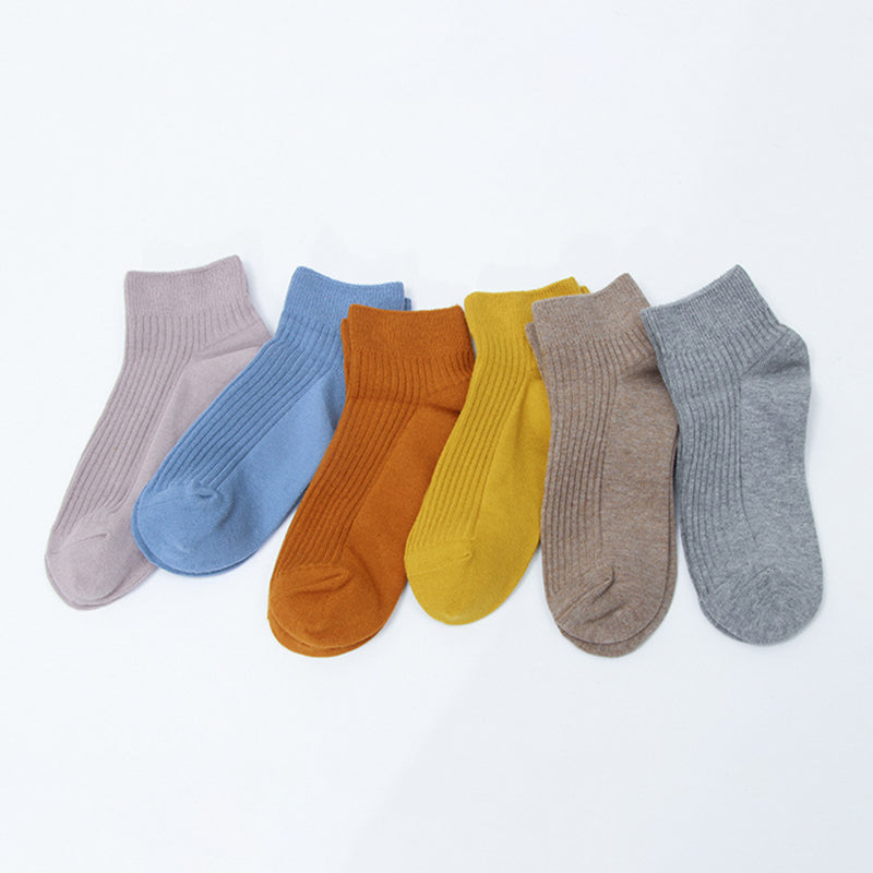 Women Solid Color Cotton Short Socks - 3 Pairs