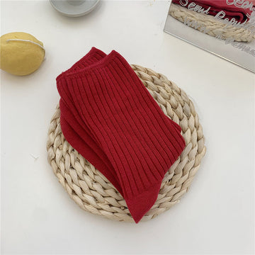 Women Solid Color Cotton Socks(3 Pairs)
