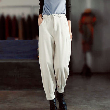 Women Solid Color Elastic Waist Button Pants