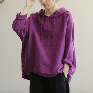 Women Solid Color Hooded Drawstring Blouse