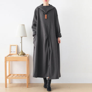 Women Solid Color Hooded Pocket Dress