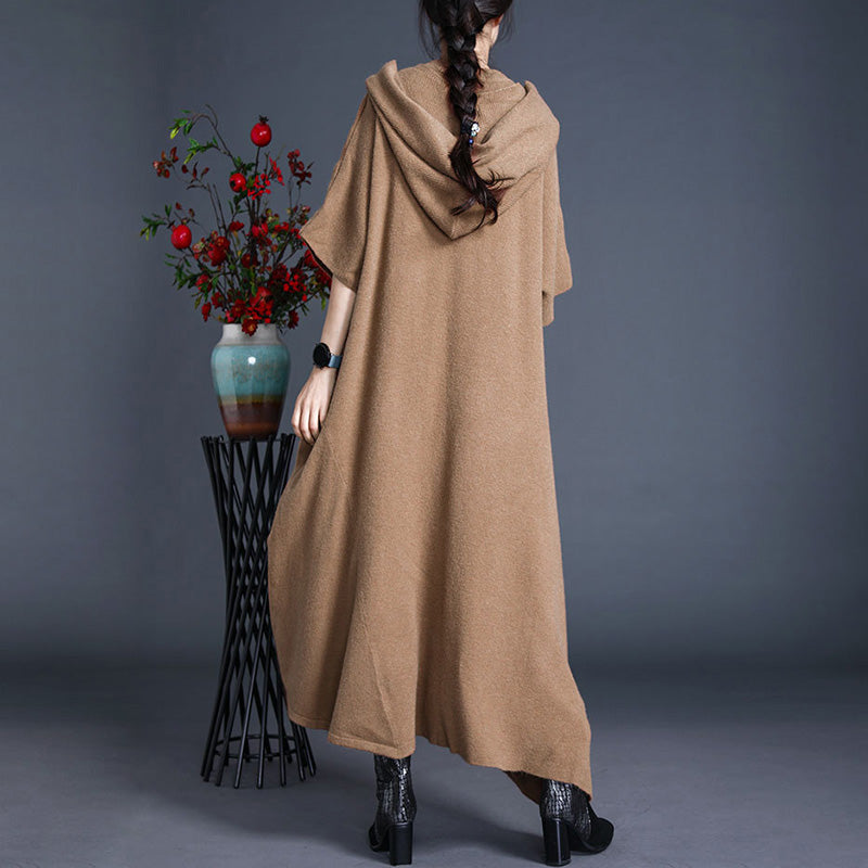 Women Solid Color Hooded Scarf Dress