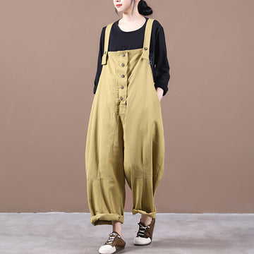 PLUS Size - Women Solid Color Loose Breasted Jumpsuit