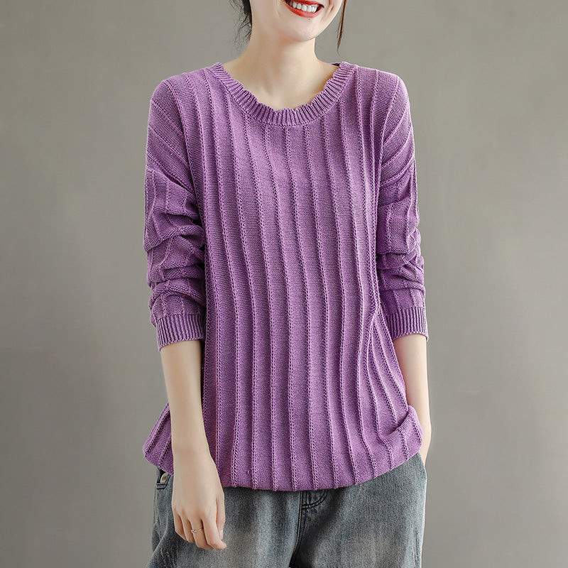 Women Solid Color Striped Cotton Sweaters