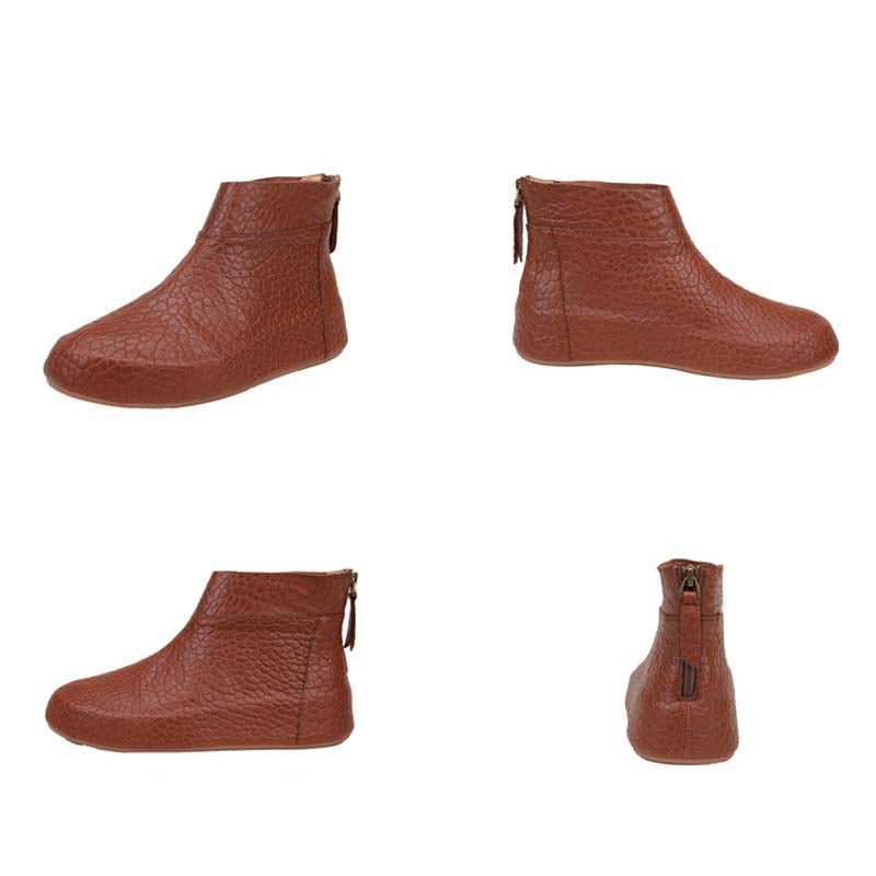 Women Solid Color Zipper Leather Short Boots