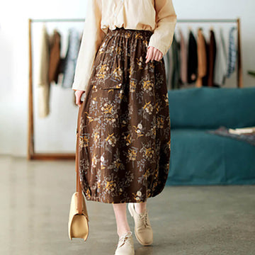 Women Spring Floral Casual Print Pocket Skirt