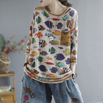 Women Spring Knitted O-neck Casual Loose Top
