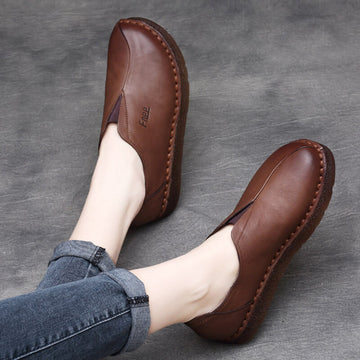 Women Spring Leather Casual Flat Retro Letter Shoes