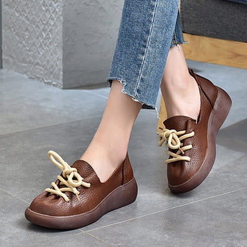 Women Spring Leather Casual Lace-up Shoes
