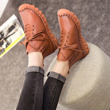 Women Spring Pure Color Casual Short Boots