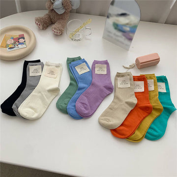 Women Spring Simple Pure Color Daily Socks(10 Pairs)